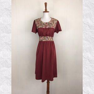 Vintage 70's Flutter Sleeve Empire Waist Dress